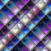 Hearts pattern on geometric background.