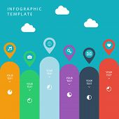 Infographic template for work flow layout, diagram, number options, web design, presentation.
