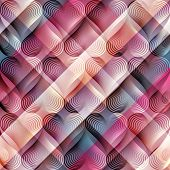 Geomrtic hearts pattern on plaid diagonal background.