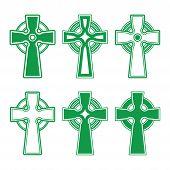 Irish, Scottish Celtic green cross on white - vector