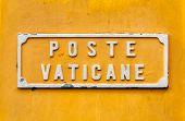 Vatican Post Box Yellow Sign.