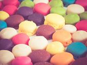 French Colorful Macarons  With Filter Effect Retro Vintage Style