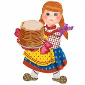 Girl in national dress with pancakes