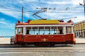 foto of tram  - Vintage tram in the city center of Lisbon - JPG