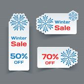 Vector Set of White Paper Retro Labels with Snowflakes.