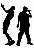 Singers men in rap style on white background