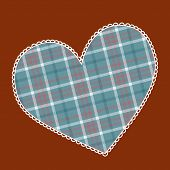 Heart Made Of Plaid Fabric With Lacy Side.