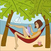 Brunette Woman Reading Magazine While Sitting In Hammock At The Seaside.