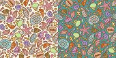 Seamless Pattern Made Of Shells And Sand. 2 Variants Of Background Color.