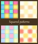 Set Of 4 Plaid Patterns.
