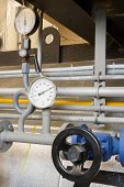 image of manometer  - Industrial Manometer pressure gas line with valve - JPG
