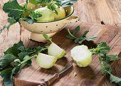 Kohlrabi Cabbage On Dark Wooden