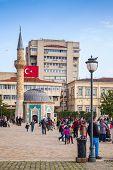 Izmir, Turkey. Konak Square With Walking Tourists
