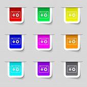 Cassette Sign Icon. Audiocassette Symbol. Set Of Colour Buttons. Vector