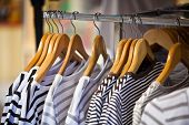 Striped Female Pullovers In A Clothing Store