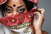 picture of indian wedding  - Exotic Indian bride dressed up for wedding ceremony - JPG