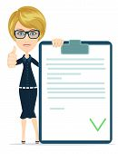 Girl with a document approved, vector illustration