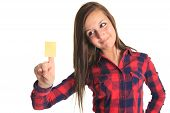 Beautiful woman showing a blank yellow paper note isolated on a white background