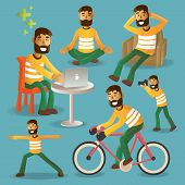 Lifestyle Concept Everyday Life Character Set Vector Illustration