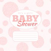 Vector pink baby shower party invitation with doodled swirles and empty space for text.