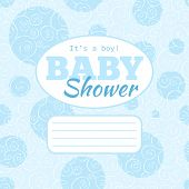 Vector blue baby shower party invitation with doodled swirles and empty space for text.