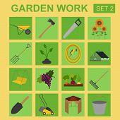 Garden work icon set. Working tools.