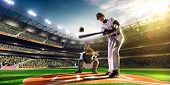image of ball cap  - Professional baseball players on the grand arena - JPG