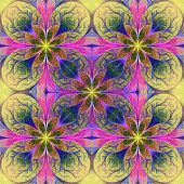 Pattern From Fractal Flowes In Yellow, Pink And Blue. Computer Generated Graphics.