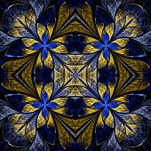 Symmetrical Pattern In Stained-glass Window Style. Blue And Yellow Palette. Computer Generated Graph