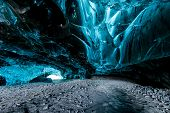 image of ice crystal  - ice cave in Iceland in south - JPG