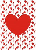 Vector greeting card with red heart, red flowers and white background