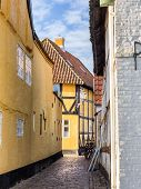 Homes On Cobbled Streets In Ribe, Denmark