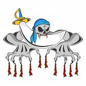 picture of pirate sword  - Illustration of a pirate zombie skeleton biting his sword with bloody teeth clawing onto the ground - JPG