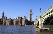foto of westminster bridge  - The beautiful view across the river Thames of the Houses of Parliament and Westminster Bridge in London. ** Note: Visible grain at 100%, best at smaller sizes - JPG