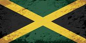 Jamaican flag. Grunge background. Vector illustration