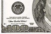 Hundred Dollar Bill Lower Left Corner