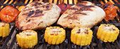picture of roast chicken  - Barbecue Roast Chicken Breast With Vegetables On The Hot Flaming Charcoal Grill - JPG