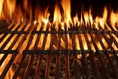 stock photo of braai  - Empty Barbecue Charcoal Cast Iron Grill Close - JPG