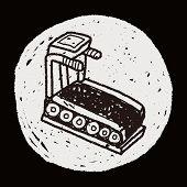stock photo of treadmill  - Treadmill Machine Doodle - JPG
