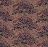 stock photo of chameleon  - Seamless pattern with ornamental chameleons in jungle - JPG