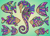 picture of seahorse  - Vector set of different fishes and seahorse - JPG