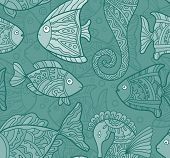 stock photo of seahorse  - Vector Ornate Sea Seamless Pattern with fishes - JPG