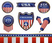 pic of patriot  - A patriotic set of American Independence Day 4th of July badges and design elements - JPG