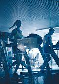 stock photo of treadmill  - Active man and woman running on treadmills - JPG