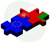 picture of oman  - European Union and Oman Flags in puzzle isolated on white background - JPG