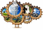 foto of milk  - Seven wooden gears with cows green pasture steel cans for milk and white packaging carton of milk - JPG