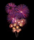picture of firework display  - Fireworks display for new year and celebration event - JPG
