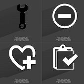 image of tasks  - Wrench Minus sign Heart with plus sign Task completed icon - JPG