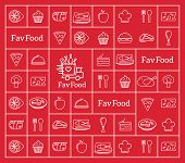 stock photo of food logo  - Favorite Food Delivery Abstract Vector Logo Integrated Into the Line Style Icon Pattern - JPG