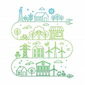 picture of nature conservation  - Vector concept and infographic design elements in trendy linear style  - JPG